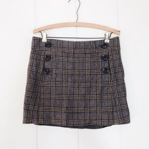 Gap Grey Plaid Wool Mini Skirt